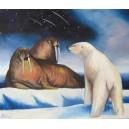 Lední medvěd a mroži, olej na plátně, 30 x 70